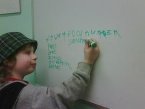 George writing words