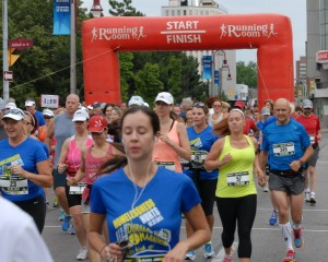 Crossing the start line - there I am, wearing number 7!